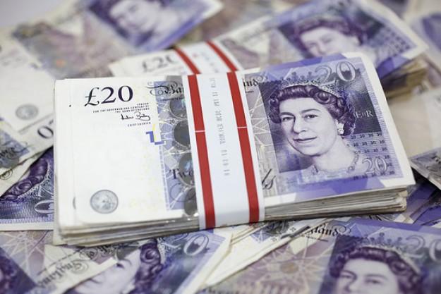 la libra esterlina, la moneda del Reino Unido