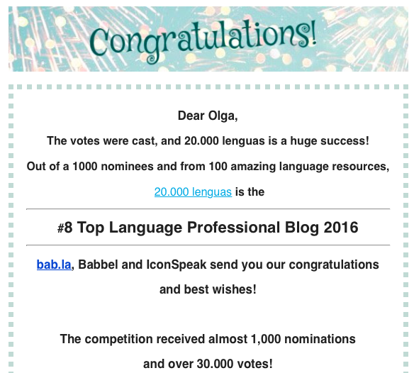 Top 25 Blogs Profesionales de Idiomas 2016